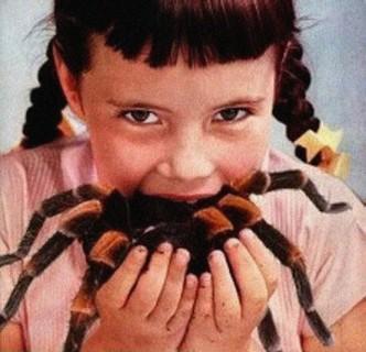 little-girl-eats-spider-vintage